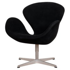 Arne Jacobsen Swan Chair in Black Alcantara for Fritz Hansen, Denmark