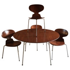 Arne Jacobsen Table and Four Ant Chairs Danish 1950s Midcentury Fritz Hansen