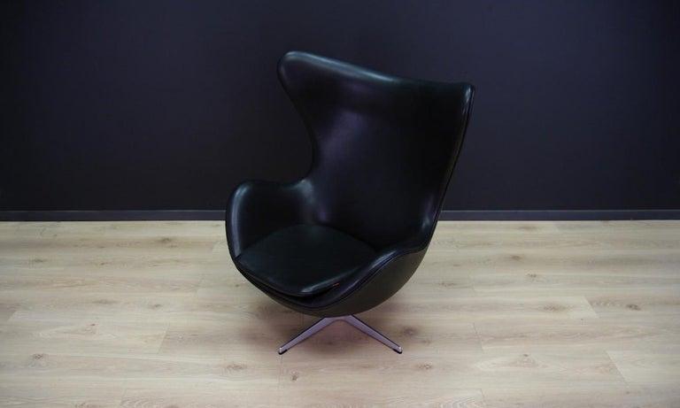 Arne Jacobsen the Egg Chair Elegance Leather Black For Sale 7