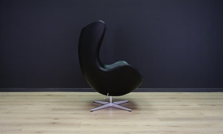 Arne Jacobsen the Egg Chair Elegance Leather Black In Good Condition For Sale In Szczecin, Zachodniopomorskie
