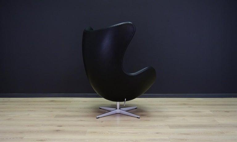 Arne Jacobsen the Egg Chair Elegance Leather Black For Sale 1