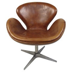 Arne Jacobson Leather Swivel Chair 'Brown'
