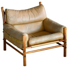 Arne Norell 1960s Safari Easy Chair Low Model Inca in Patinated Tan Leather