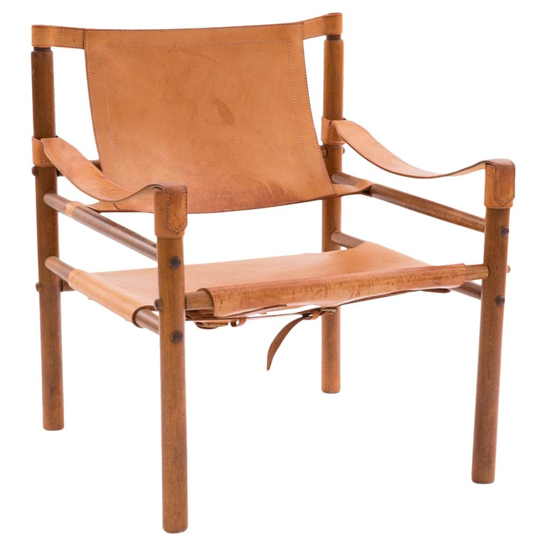 Arne Norell 1960s Safari Sling Chair in Tan Leather For Sale