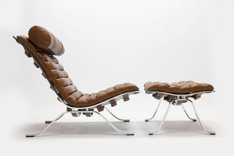 Arne Norell Ari Lounge Chair and Ottoman in Bronze Leather 8