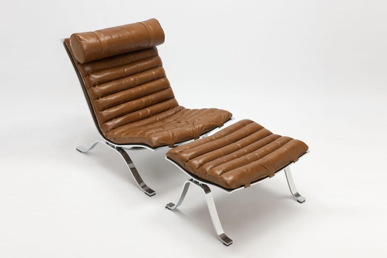 Scandinavian Modern Arne Norell Ari Lounge Chair and Ottoman in Bronze Leather