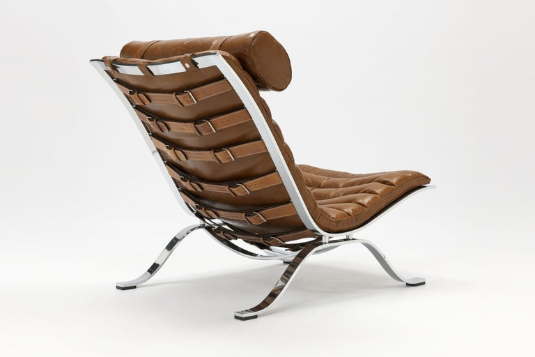 Swedish Arne Norell Ari Lounge Chair and Ottoman in Bronze Leather