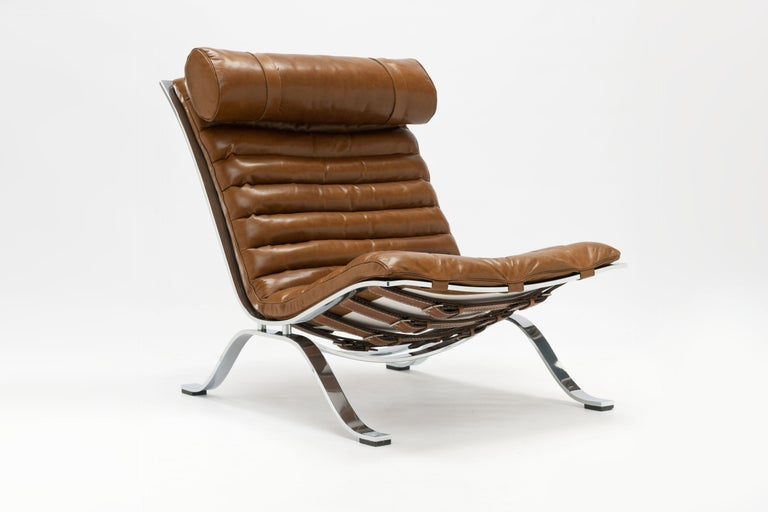 Mid-20th Century Arne Norell Ari Lounge Chair and Ottoman in Bronze Leather