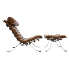 Arne Norell Ari Lounge Chair and Ottoman in Bronze Leather