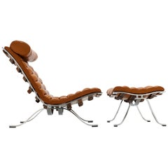 Arne Norell Ari Lounge Chair and Ottoman in Cognac Leather