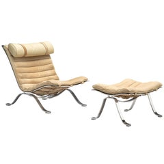 Arne Norell ' Ari' Lounge Chair and Ottoman in Leather
