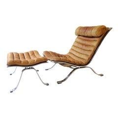 Arne Norell 'Ari' Lounge Chair and Ottoman in Original Brown Leather