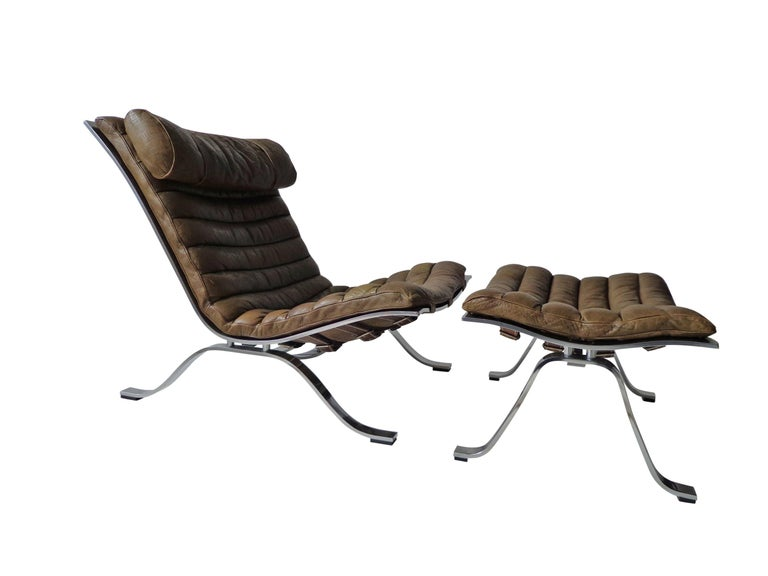 Scandinavian Modern Arne Norell 'Ari' Lounge Chair and Ottoman in Original Cognac/Brown Leather For Sale