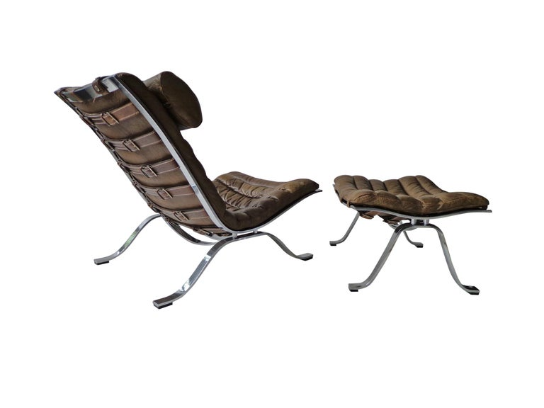 Swedish Arne Norell 'Ari' Lounge Chair and Ottoman in Original Cognac/Brown Leather For Sale