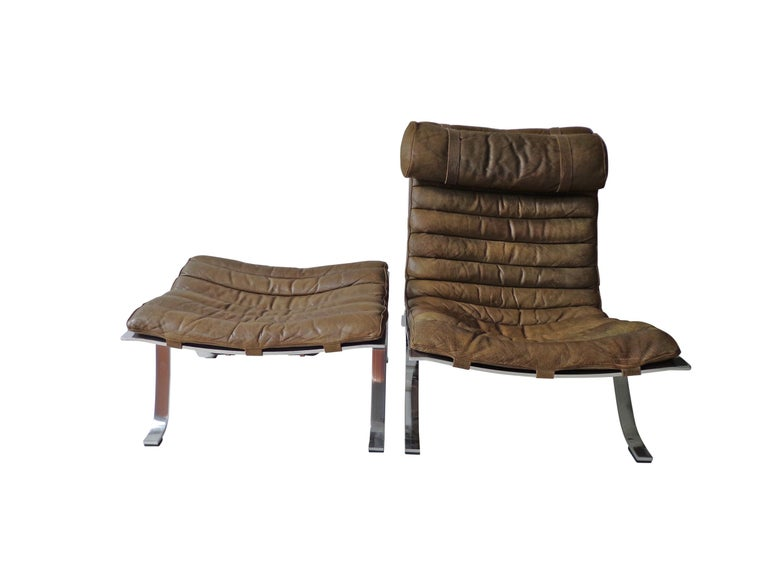Mid-20th Century Arne Norell 'Ari' Lounge Chair and Ottoman in Original Cognac/Brown Leather For Sale