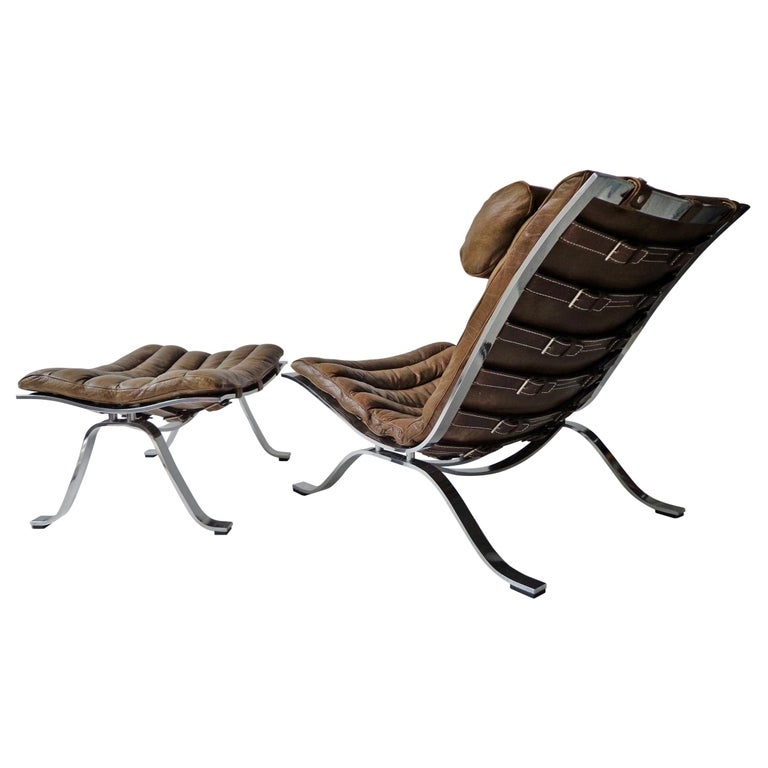 Arne Norell 'Ari' Lounge Chair and Ottoman in Original Cognac/Brown Leather For Sale