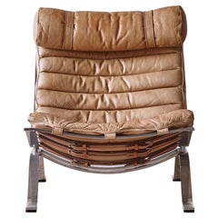 Arne Norell Ari Lounge Chair, Original Tan Leather, Norell Mobler, 1970s, Sweden
