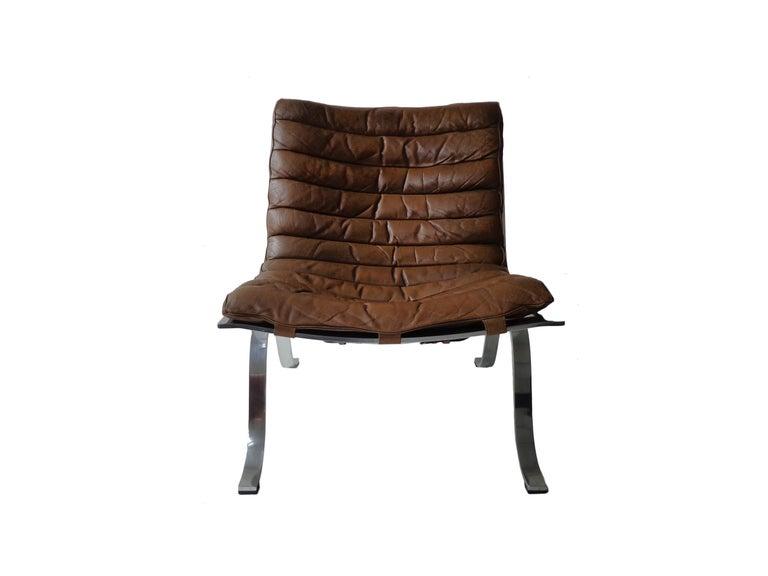 Scandinavian Modern Arne Norell 'Ariet' Easy Chair in Original Cognac/Brown Leather For Sale