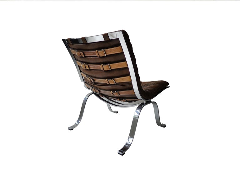Swedish Arne Norell 'Ariet' Easy Chair in Original Cognac/Brown Leather For Sale