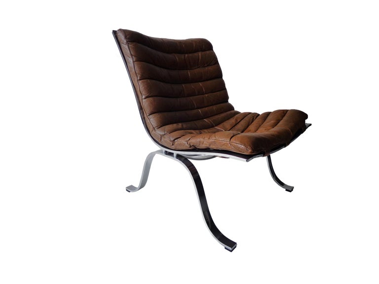 Arne Norell 'Ariet' Easy Chair in Original Cognac/Brown Leather In Good Condition For Sale In Amsterdam, NL