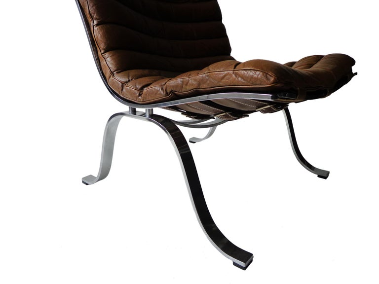 Late 20th Century Arne Norell 'Ariet' Easy Chair in Original Cognac/Brown Leather For Sale