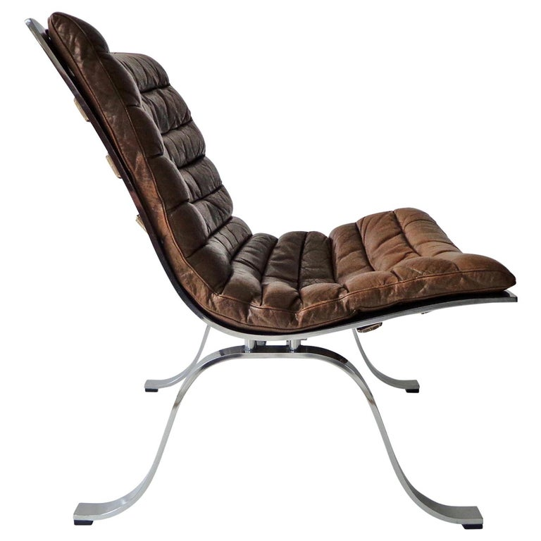 Arne Norell 'Ariet' Easy Chair in Original Cognac/Brown Leather For Sale