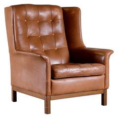 Arne Norell Buffalo Leather Easy Chair, 1960s