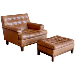 Arne Norell Buffalo Leather Easy Chair with Ottoman, 1960s