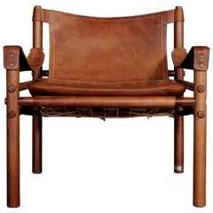 Arne Norell Cognac Leather Safari Chair Model Sirocco, 1960s