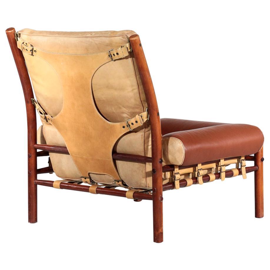 Arne Norell Easy Chair Model Inca 1960s Havana Leather Sweden Ab Safari