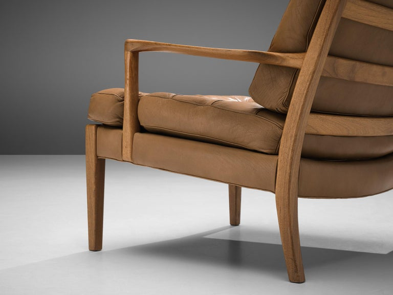 Scandinavian Modern Arne Norell for Møbel AB Sweden Pair of 'Löven' Lounge Chairs in Leather