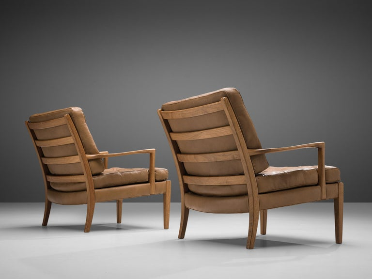 Swedish Arne Norell for Møbel AB Sweden Pair of 'Löven' Lounge Chairs in Leather