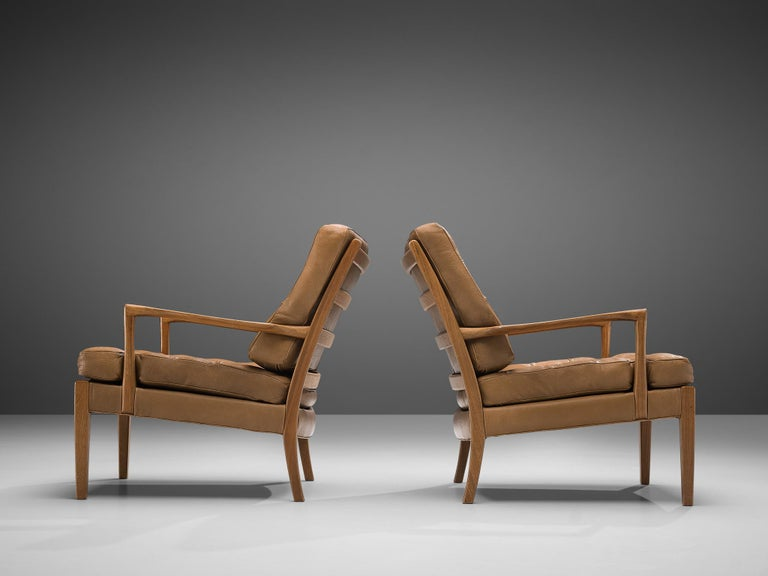 Mid-20th Century Arne Norell for Møbel AB Sweden Pair of 'Löven' Lounge Chairs in Leather