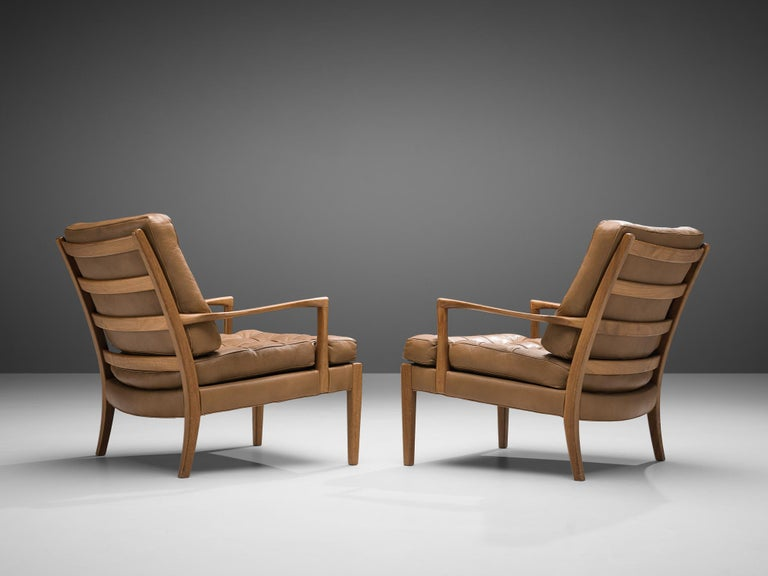 Arne Norell for Møbel AB Sweden Pair of 'Löven' Lounge Chairs in Leather 2