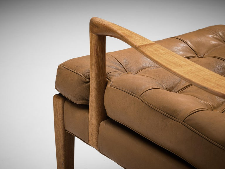 Arne Norell for Møbel AB Sweden Pair of 'Löven' Lounge Chairs in Leather 3