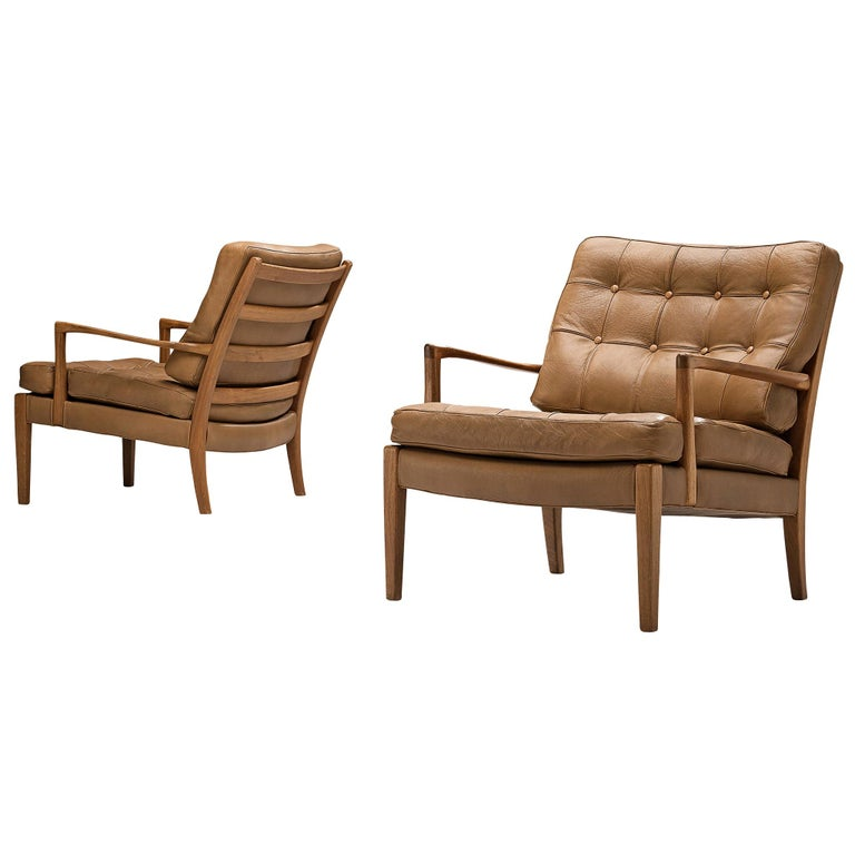 Arne Norell for Møbel AB Sweden Pair of 'Löven' Lounge Chairs in Leather