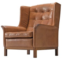 Arne Norell High Back Chair in Patinated Cognac Buffalo Leather