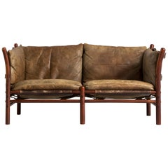 Arne Norell 'Illona' Sofa with Brown Patinated Leather