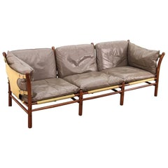 Arne Norell Ilona Sofa in Taupe and Natural Leather