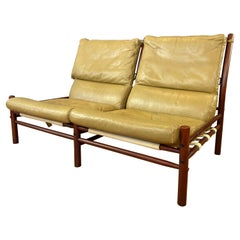 Arne Norell Inca Armless Settee in Teak-Colored Beech and Tan Leather, 1970s