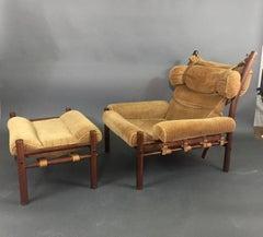 "Arne Norell ""Inca"" Lounge Chair + Ottoman, 1960s"