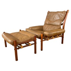 Arne Norell Inca Lounge Chair & Ottoman in Teak-Colored Beech and Leather, 1970s