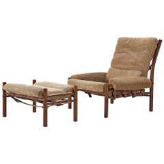 Arne Norell 'Inca' Lounge Chair with Ottoman in Corduroy