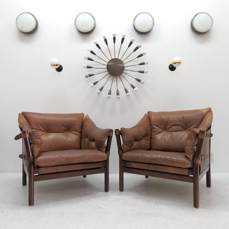 Arne Norell Leather Lounge Chairs Model 'Ilona' For Sale 4