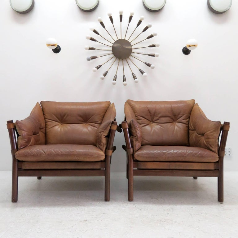 Arne Norell Leather Lounge Chairs Model 'Ilona' For Sale 5