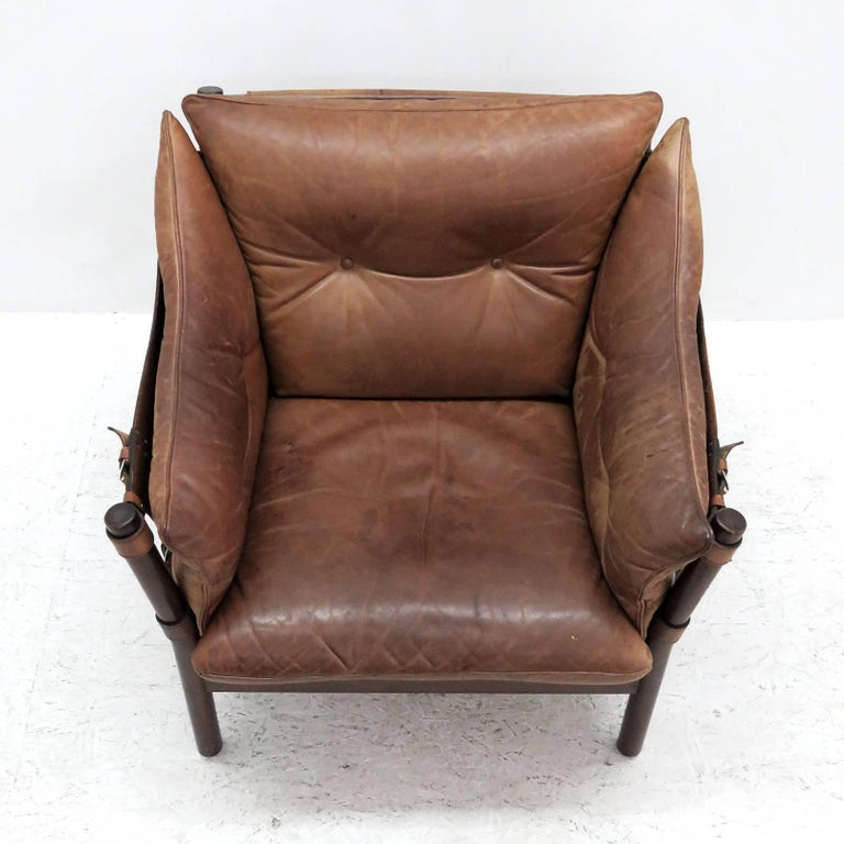 Scandinavian Modern Arne Norell Leather Lounge Chairs Model 'Ilona' For Sale