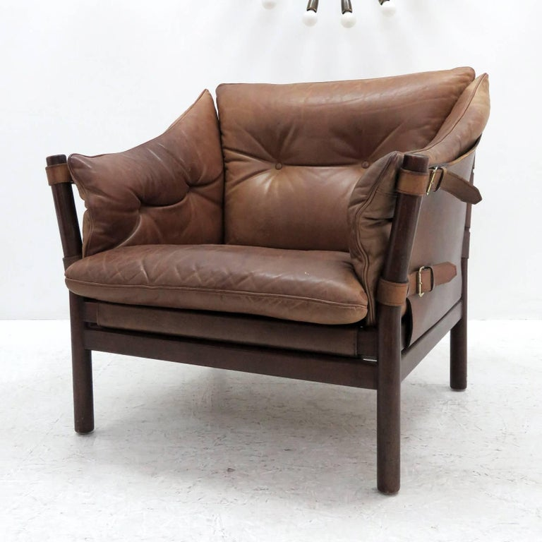 Swedish Arne Norell Leather Lounge Chairs Model 'Ilona' For Sale