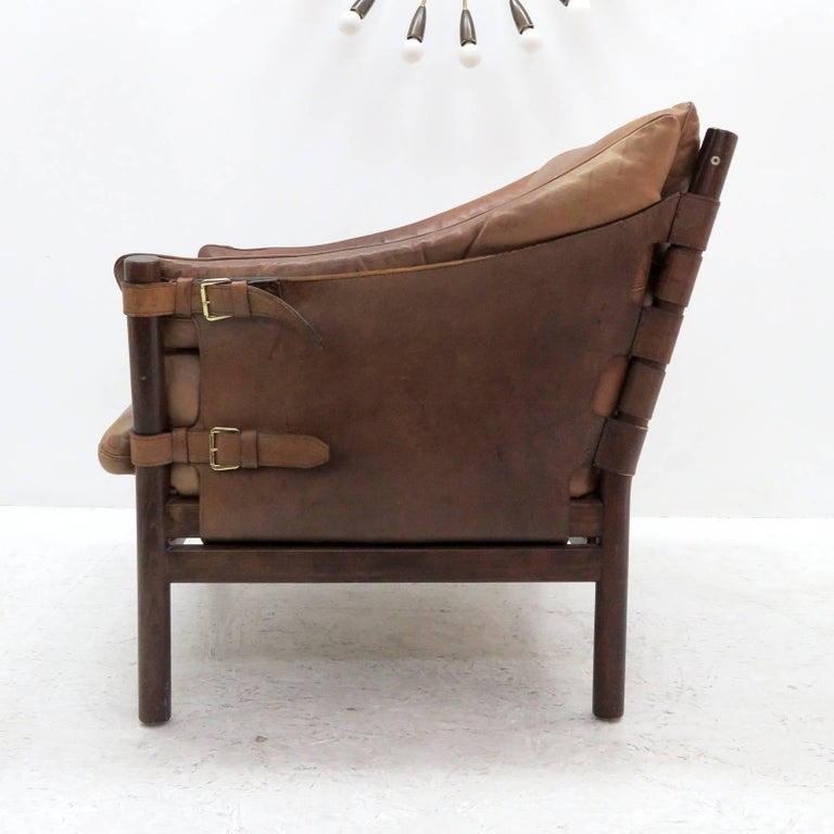 Stained Arne Norell Leather Lounge Chairs Model 'Ilona' For Sale