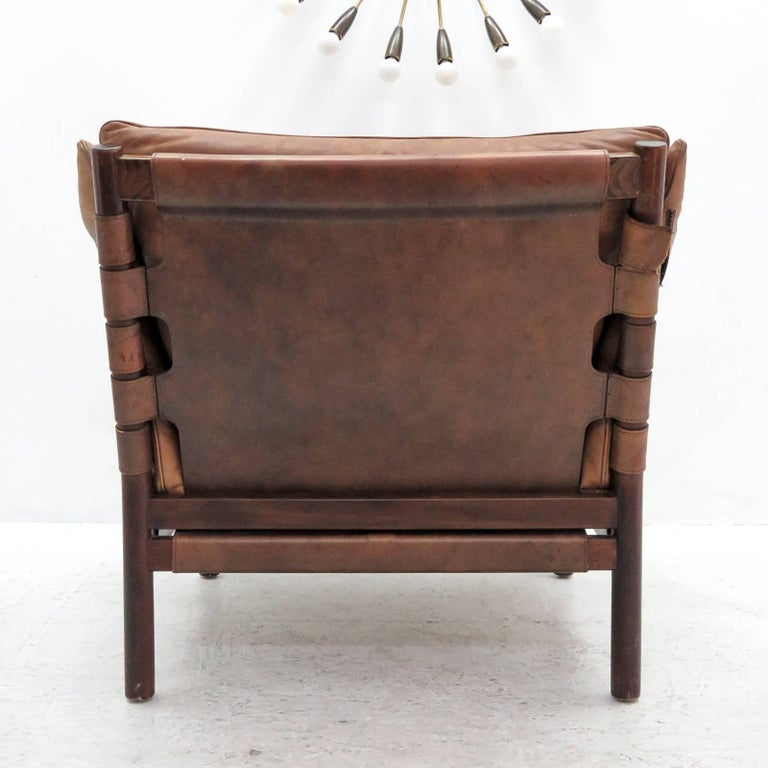 Mid-20th Century Arne Norell Leather Lounge Chairs Model 'Ilona' For Sale