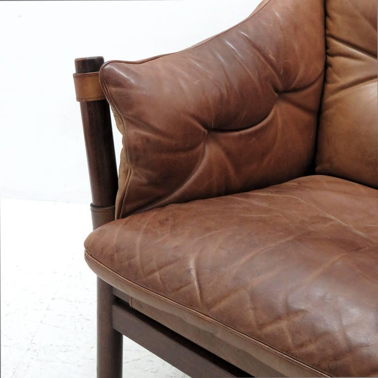 Arne Norell Leather Lounge Chairs Model 'Ilona' For Sale 1